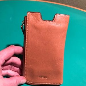 Fossil Brown Leather Phone Holder for 8+